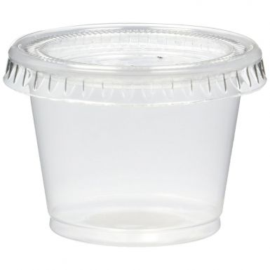 plastic souffle portion cups & lids combo translucent 3.25oz 96ml