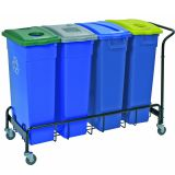 Wall Hugger Recycle 4 Bin Trolley