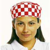 Skull Cap Red/White Check - One Size