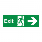 Sign Fire Exit Arrow Right 450x150mm Self-adhesive Vinyl